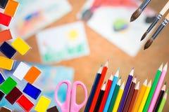 Die undeutlichen Zeichnungen der Kinder Lizenzfreies Stockbild
