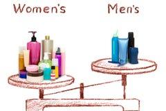 Die Ungleichheit von männlichen und weiblichen Kosmetik auf den Skalen lizenzfreie abbildung