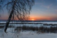 Die untergehende Sonne an einem eisigen Abend Stockfotos
