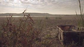 Die Unterseite des getrockneten Sees, Reed-, altes Boot stock footage