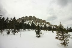 Die Ural Berge Nationalpark Taganay Die Kante Otkliknoi 1155 m Stockbild