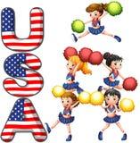Die USA, die Gruppe zujubeln Lizenzfreie Stockbilder