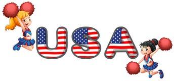 Die USA, die Gruppe zujubeln Lizenzfreies Stockfoto