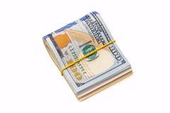 100 die usd dollars op wit worden geïsoleerd Royalty-vrije Stock Afbeeldingen
