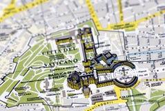 Die Vatikanstadt auf der Karte Stockfoto