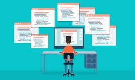 die Vektorleuteprogrammierung entwickeln Website und Anwendung Lizenzfreies Stockfoto