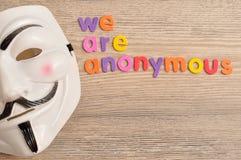 Die Vendettamaske, die mit sind uns angezeigt wird, anonym lizenzfreies stockfoto