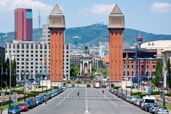 Die venetianischen Türme. Barcelona. stockbild