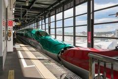 Die verbundenen /E6 (roten) Hochgeschwindigkeitszüge E5 (grünes) Stockfotos