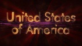 Die Vereinigten Staaten von Amerika - glänzende Schleifungsländername-Textanimation stockfotos