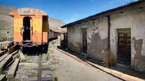 Die verlassenen Güterwagen mit schädigenden Lagergebäuden Stockfoto