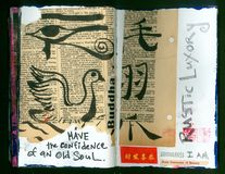 Die verrückte Klugheits-handgemachte Collage Art Journal ALTEN SEELE Künstlers stock abbildung
