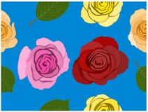 Die verschiedenen Farbrosen auf blauem Hintergrund Nahtlose Tapete It's stock abbildung
