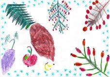 Die verschiedenen Niederlassungen des Baums mit Schneeflocken und Früchten, Kinderzeichnung vektor abbildung