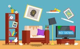 Die Verwirrung im Raum, schmutziger Innenraum des Wohnzimmers Reinigungskonzept f?r eine Reinigungsfirma Flacher Vektor vektor abbildung
