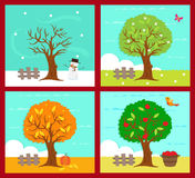 Die vier Jahreszeiten lizenzfreie abbildung