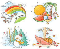 Die vier Jahreszeiten in den Bildern Stockfotografie
