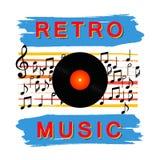 Die Vinylaufzeichnung Abstraktes Retro- Musikplakat Vektoremblem, Hintergrund, Entwurf, Illustration vektor abbildung