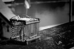 Die Vogelkäfige, die benutzt wurden, um freizugeben, nahmen Vögel an einem buddhistischen Tempel I gefangen Lizenzfreie Stockfotos