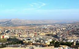 Die Vogelperspektive von Fes-Stadt townMedina in Marokko Lizenzfreies Stockfoto