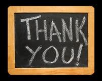 Die Wörter danken Ihnen auf Tafel Stockfotografie
