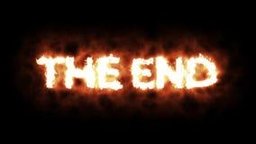 Die Wörter DAS ENDE, das oben in den Flammen und im Burning beleuchtet lizenzfreie abbildung