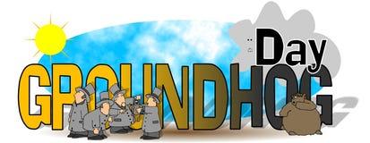 Die Wörter Groundhog Day Lizenzfreie Stockfotos