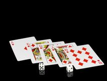 Die Würfel und die Spielkarten - Stockfotos