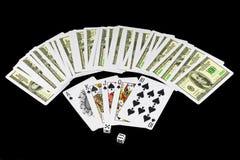 Die Würfel und die Spielkarten Lizenzfreie Stockfotografie