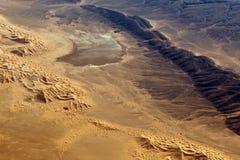 Die Wüste Sahara gesehen vom Flugzeug Lizenzfreies Stockfoto