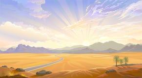 Die Wüstenansicht über den Hügel Sonnenaufgang hinter den Bergen und einer Straße über der Wüste lizenzfreie abbildung
