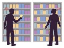 Die Wahl von Waren durch den Käufer abhängig von der Anzeige Stockbilder