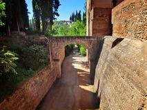 Die Wand der Alcazaba Festung, Alhambra Lizenzfreies Stockfoto