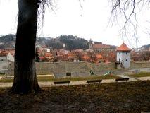 Die Wand der Festung, Brasov, Transilvania, Rumänien Lizenzfreies Stockfoto