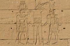 Die Wandanstriche im ägyptischen Tempel von Kalabsha Lizenzfreie Stockbilder