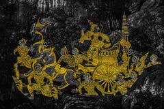 Die Wandmalereien Ramakien Ramayana entlang den Galerien des Tempels Emerald Buddhas, des gro?artigen Palastes oder des wat phra  lizenzfreies stockbild