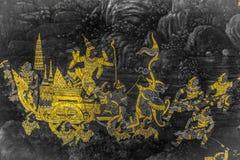 Die Wandmalereien Ramakien Ramayana entlang den Galerien des Tempels Emerald Buddhas, des gro?artigen Palastes oder des wat phra  lizenzfreies stockfoto