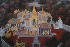 Die Wandmalereien Ramakien Ramayana entlang den Galerien des Tempels Emerald Buddhas, des gro?artigen Palastes oder des wat phra  stockfoto