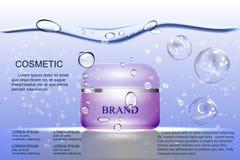 Die wasserbasierte Creme, die purpurrote Blase auf dem Hintergrund des Wassers und die Luftblasen Lizenzfreie Abbildung