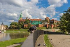 Die Wawel-Festung in Krakau, Polen stockbild