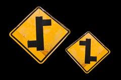 Zeichen auf schwarzem Hintergrund Stockfotografie