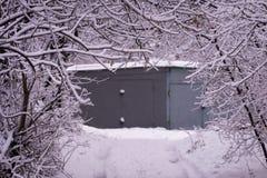 Die weiße Farbe der Natur Die Niederlassungen sind, es waren nach einem Wintersturm schneebedeckt stockfotos