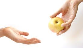 Die weibliche Hand, die einen Apfel zum othere eins gibt Lizenzfreie Stockfotos
