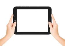 Die weiblichen Hände, die eine Tablette halten, berühren Computergerät mit stockbilder