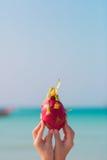 Die weiblichen Hände, die einen Drachen halten, tragen auf Seehintergrund Früchte Stockfoto