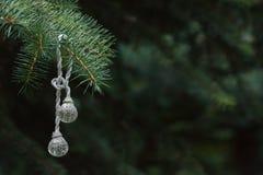 Die Weihnachten-Baum Dekoration hängt an einem Zweig Lizenzfreies Stockfoto