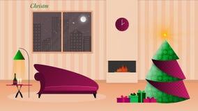Die Weihnachtslichtpetze durch den Kamin stock video