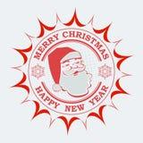 Die Weihnachtsrunde, eckig unterzeichnen im Rot mit dem Schattenbild von Santa Claus und von zwei Schneeflocken, lizenzfreie abbildung