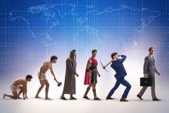 Die Weiterentwicklung der Mannmenschheit von altem zu modernem Stockbilder