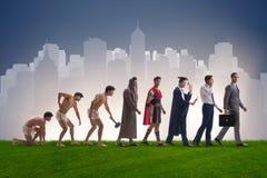 Die Weiterentwicklung der Mannmenschheit von altem zu modernem Lizenzfreies Stockbild